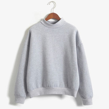 Gray Plus Size XXL Cute Women Autumn Coat Winter Loose Fleece Thick Knit Sweatshirt