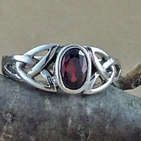 Garnet Ring~Sterling Silver Celtic Garnet Ring~Garnet Silver Celtic Ring~January Birthstone~Birthstone Jewelry