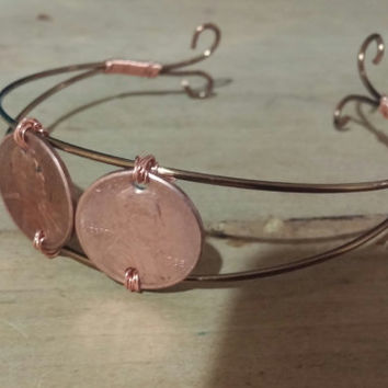 Wire penny bracelet, penny, copper, wire, gift ideas, gifts for her, custom jewelry, handmade jewelry