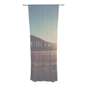 "Laura Evans ""Adventure Awaits You"" Coastal Typography Decorative Sheer Curtain"