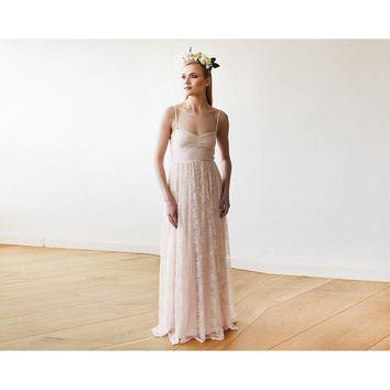 Sweetheart neckline pastel pink lace maxi dress 1080