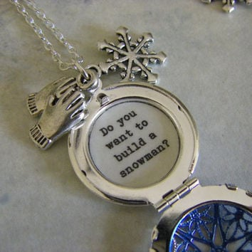 Frozen Anna Locket Necklace Do you want to build a snowman quote inside gift for her teen tween