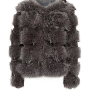 Cameo Rose Dark Grey Faux Fur Jacket | New Look