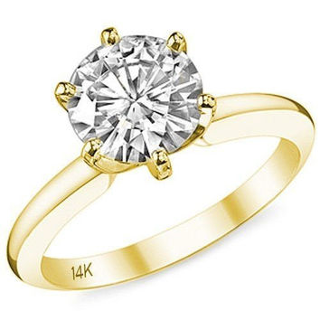 14K Yellow Gold Cubic Zirconia Engagement Ring in 2 Carat 6 Prong Solitaire (Yellow, Rose or White Gold) by CZ Sparkle Jewelry®
