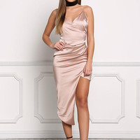 Blush Satin Surplice High Slit Dress