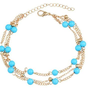 ONETOW Simple retro wild rice beads blue beaded double chain anklet bracelet