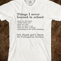 THINGS I NEVER LEARNED IN SCHOOL