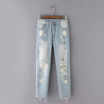Korean Summer Women's Fashion Weathered Handcrafts Ripped Holes Denim Pants [4920276164]