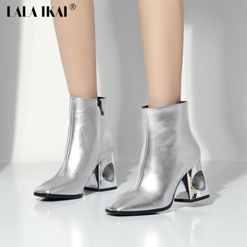 LALA IKAI Genuine Leather Women Ankle Boots Silver/Black Patent Leather Hollow Thick High Heels Shoes For Ladies XWN1152-5