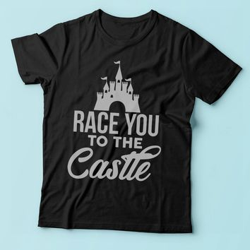 Race You To The Castle Disney Princess Running Hiking Gym Sport Runner Yoga Funny Thanksgiving Christmas Funny Quotes Men'S T Shirt