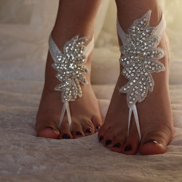 Champagne Lace Barefoot SandalsWedding from byPassion on Etsy