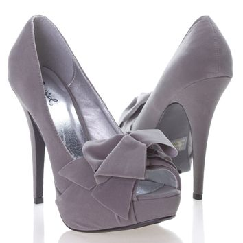 Qupid Women's NYDIA119 Open Peen Toe Bow Platform High Heel Stiletto Pump Shoes, Gray Faux Suede, 10 B (M) US