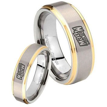 His Hers Step Edge Mountain Dew 14K Gold 2 Tone Tungsten Wedding Rings Set