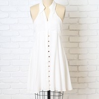 White Collared Button-Up Dress