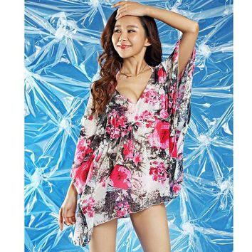 DCCK7N3 New  Summer  dress woman wrap beach wear loose cover-up long cover up floral print halter beach dress for swimwear bikini