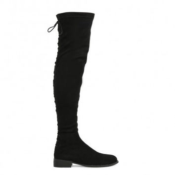 Flat Lace Up Over Knee Boots Black