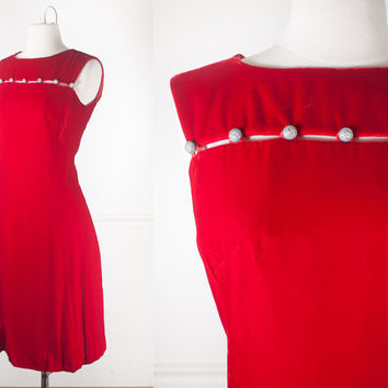 1960s Red Velvet Cocktail Dress / Vintage 60s Dress / 60s Mod Dress / Mid Century Modern / Evening Dress / Mod Shift Dress / Red Dress