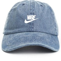 Just Vibe Swoosh Denim w/ White Dad Hat