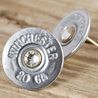 20 Gauge Nickel Shotgun Shell Bullet Earring Studs Sterling Silver