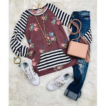 Floral Striped Sleeve Top