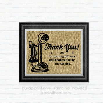 "Vintage Telephone ""Thank You"" Ceremony / Service Sign: Shabby Chic, Wedding, Reception, Event, Party, Rustic, Antique, Vintage, Retro"