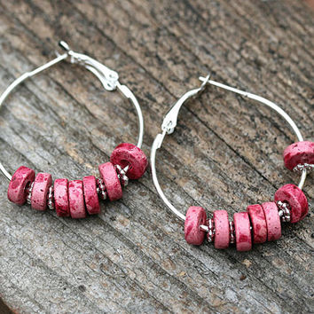 Silver Hoop earrings, Pink earrings, lightweight, large hoops, Beach jewelry, Gypsy earrings, Summer Trendy Jewelry