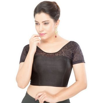 Saris and Things Black Strech Lycra Stretchable Saree Blouse Crop Top A-23-black