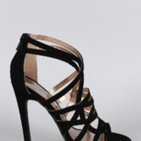 Women's Qupid Nubuck Strappy Open Toe Stiletto Heel