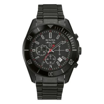 Bulova Marine Star Men's 43mm Chronograph Watch in Black Ion-Plated Stainless Steel