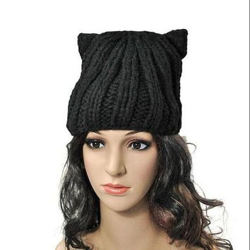 2016 New Caps Brand Warm Beautiful Beanies Winter Knitted Hat Women's Cat Ear Lady Pompon Beanie Wool Hats