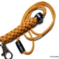 Gold Paracord Lanyard Id Holder Breakaway Clasp Cord Adjuster Military Grade 550 Cord Men Unisex