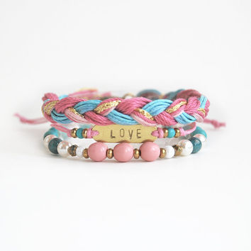 Pink bracelet set, hand stamped love bracelet stack, arm candy, festival wear, pink and blue