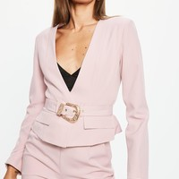 Missguided - Pink Cropped Western Belt Blazer