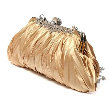 DCCKLW8 Fashion Lady Party Wedding Handbag Purse Girl Soft Evening Bag Bridal Women Satin Crystal Clutch
