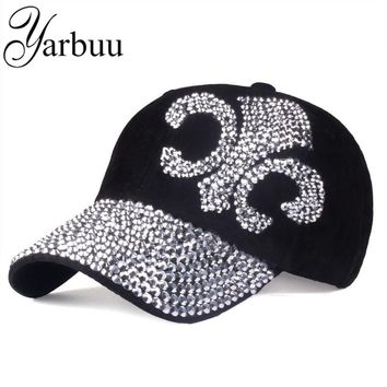 [YARBUU] 2016 new fashion hat caps sunshading men and women's baseball cap rhinestone hat denim and cotton snapback cap hip hop