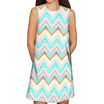 Chevron Please Adele Casual Shift Mini Dress - Women