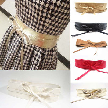 New Female Women Belt Front Stretch Leather Waist Belts Soft Wide Self Tie Wrap Around Waist Band For Girls