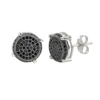Sterling Silver Micropave Stud Earrings Round Black CZ 3d Side Stones 11mm x 11