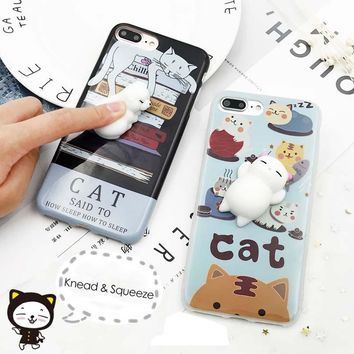 Funny 3D Cartoon Squishy Animals Case for iphone 7 6 6s Plus Cover Soft Silicone Squishy Squeeze Cat Seal Bear Toy Phone Cases