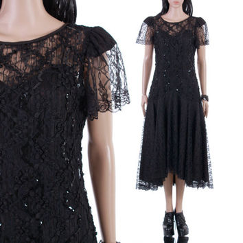 Vtg Black Lace Drop Waist 80s Does 20s Goth Midi Dress Sheer Sequin Long Witch Glam Party Vintage Clothing Womens Size Medium