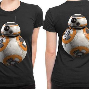 ESBH9S Star Wars The Force Awakens Droid Bb Eight Photo Cover 2 Sided Womens T Shirt