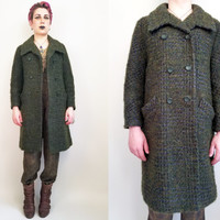 60s Clothing Long Wool Coat Vintage 60s Coat Vintage Coat Green Plaid Warm Winter Coat Double Breasted Coat Warm Coat Size Medium Large