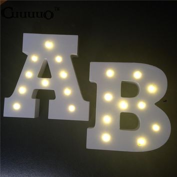 Wooden 26 Letter Alphabet LED Sign Marquee Light Up Night LED Lamp Grow Light Wall Decoration For Children Bedroom Wedding Decor