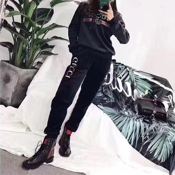 """Gucci"" Women Fashion Velvet Letter Embroidery Hooded Long Sleeve Sweater Trousers Set Two-Piece Sportswear"
