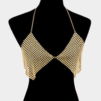 gold crystal necklace bra body chain bikini swimsuit jewelry vest bathing suit