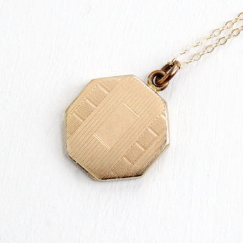 Antique Art Deco Locket Necklace - Gold Filled 1920s 1930s Octagon Geometric Pendant Jewelry