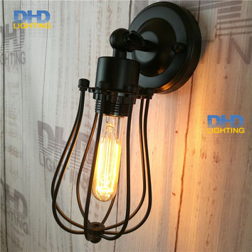 Shipping Adjustable Round Cage Iron Shade Edison Wall Lamp Industrial Small Iron Cage Sconce Bedroom Beside Lamp Fixture