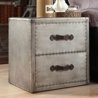 HomeVance Bernard Metal Trunk End Table (Brushed Silver)