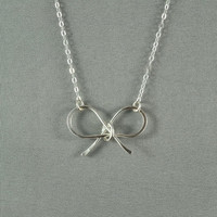 Sweet Ribbon Bow Necklace 925 Sterling Silver by WonderfulJewelry