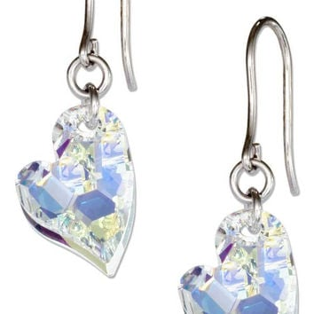 STERLING SILVER CLEAR AURORA BOREALIS SWAROVSKI CRYSTAL LOPSIDED HEART EARRINGS